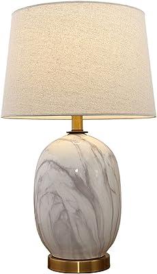 Maison Lampes de Table Lampe De Table Américaine Céramique Art Salon Lampe De Table Chaude Chambre Lampe De Chevet Salle D'étude Lecture (Color : Blanc, Size : 35 * 55cm)