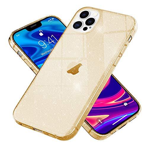 Kaliroo Handyhülle Glitzer kompatibel mit iPhone 12 PRO MAX Hülle, Durchsichtige Diamant Silikon Schutzhülle Glitter Hülle, Ultra-Slim Cover Bling Handy-Tasche Strass Backcover Etui, Farbe:Gold