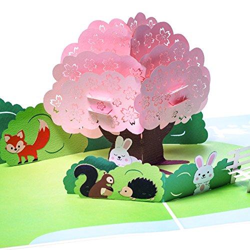 Osterkarte mit Häschen, Igel, Eichhörnchen, Fuchs, Hase & Landschaft, Geburtstagskarte, Glückwunschkarte zur Geburt & Geburtstag, Geschenkkarte zu Ostern, 3D Pop Up Karte, handgefertigt