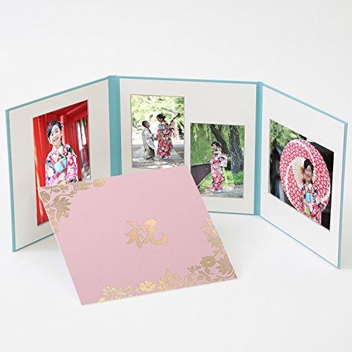 写真台紙 3面 アルバム 2L写真2枚+L判2枚 花柄 ピンク ロゴ「祝」ゴールド箔 三面 七五三 婚礼 結婚 成人式 ベビー ウエディング フォトアルバム クラウンハート