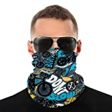 BMX Jumble Alphabet Seamless Face Bandanas Headwear Headband Neck Gaiter Multifunctional Magic Scarf Balaclava for Outdoor Sport Dust Sun Wind White