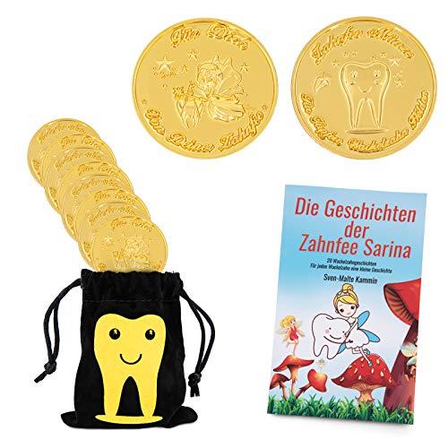 ZWEN Zahnfee Münzen Gold (10 STK) - Zahnfee Geschenke für Mädchen & Jungen + GRATIS E-Book mit 20 Zahnfee Geschichten für alle Milchzähne - Süße Münze als Zahnfee Geschenk