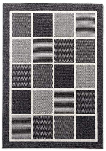 Domdeco In- und Outdoor-Teppich Square Tiles Black M 120x170cm f. Innen und Außen