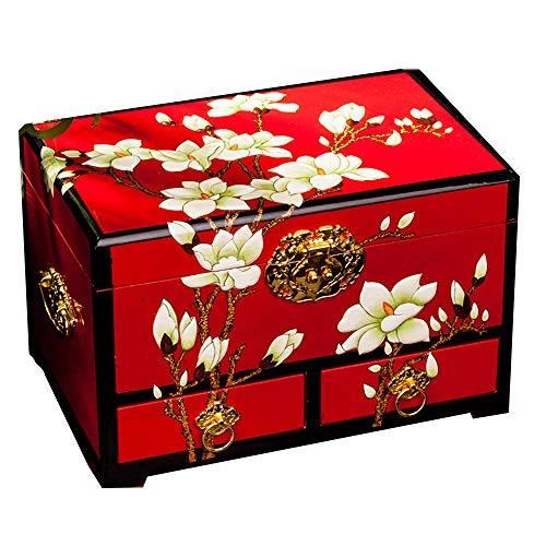 HAIHF Schmuckkästchen,Schmuck Box chinesische Lagerung Feld Lacquerware handgemachte Make-up Schmuck Box aus Holz Retro-einfache Schmuck Kassette Sperre Lagerung Box