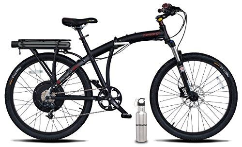 Prodeco V5 Phantom X2 8 Speed Folding Electric Bicycle, Matte Black, 26-Inch/One Size, w/ SafeCastle SS Bottle