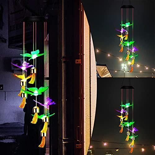 DEECOZY Solar Windspiele Für draußen Schmetterlinge, 7-Farbwechsel-wasserdichte Wind-Solar-Lichter, Im Freien wasserdichte Hängende Solarleuchten Für Veranda, Hof, Deko Sommer