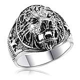 MATERIA Herrenring Löwen-Kopf 925 Sterling Silber - Siegelring Ringe Männer massiv 19.7mm oxidiert in Box SR-47-62