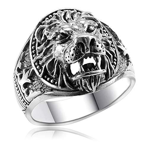 MATERIA Löwen Ring Herren Silber 925 - Siegel-Ringe Männer Fleur de Lis schwarz 22.3mm in Box SR-47-70
