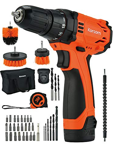 12V Cordless Drill Driver,50Pcs Accessories Electric Power Drill Set 320 in-lbs Torque, Variable Speed, 3/8 inches Keyless Chuck, Built-in LED, 2000mAh Battery and Fast Charger