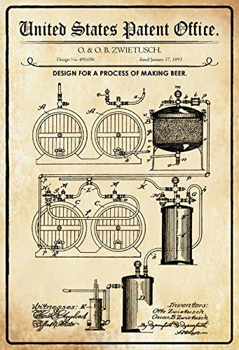 Schatzmix United States Patent Office - Design for Making Beer - Entwurf für Herstellung von Bier - Zwietusch - 1893 - Design No 490036 - Metal Sign Blech Garten deko Schild