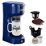 Single Serve K-Cup Coffee Machines, Single-Serve Coffee Brewers with Permanent Filter, 6-14OZ Reservoir Coffee Maker, One-Touch Button Coffee Maker, 1000W Fast Brew Technology Auto Shut Off, Blue