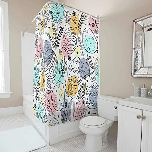 Lind88 Paaspatronen Afdrukken Douche Gordijn Kleurrijke Niet-giftige Badkuip Gordijn Set - voor Appartement Versieren