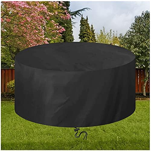 Cubierta Redonda para Muebles de Jardín Ø300x110cm Negro Funda Protectoras para Mesa de Jardín Impermeable Anti Viento/UV, 420D Oxford Funda de Muebles Exterior para Mesa y Sillas de Jardin