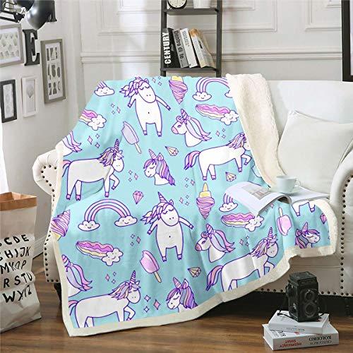 Lindo unicornio sherpa manta patrón de hada decoración manta polar manta para niños niñas cuento de hadas tema felpa manta helado diamante azul manta borrosa para sofá cama, bebé 30 x 40 pulgadas
