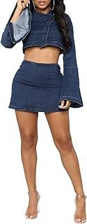 Salimdy Women Sexy Flare Long Sleeve Denim Crop Top Short Skirts Set 2 Piece Mini Dress