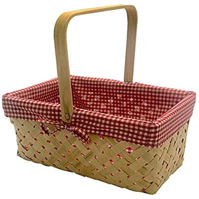 CALIFORNIA PICNI Picnic Basket Natural Woven Bamboo with Folding Handle   Easter Basket   Storage of Plastic Easter Eggs and Easter Candy   Organizer Blanket Storage   Bath Toy and Kids Toy Storage