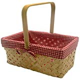 CALIFORNIA PICNI Picnic Basket Natural Woven Bamboo with Folding Handle | Easter Basket | Storage of Plastic Easter Eggs...