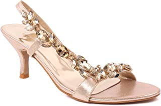 "afb48c7b81d Unze Women ""AREEN"" Decorated Side Strap Wedding Summer Low Heel Gathering  Formal Evening Sling"