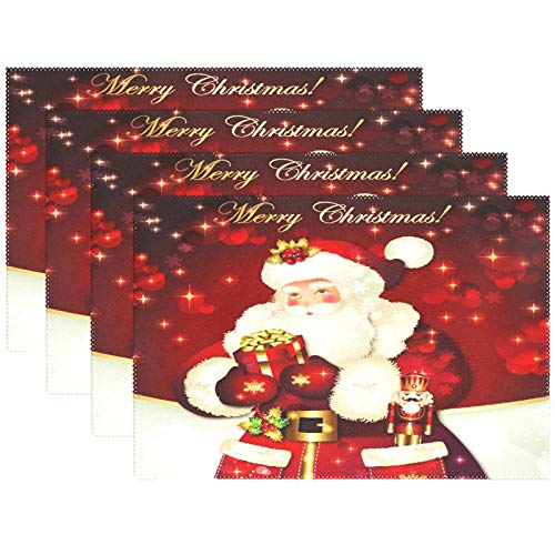 "Wamika Merry Christmas Santa Claus Winter Snowman Placemats Set of 4 Table Mat,Christmas Tree Red Snowflake Jingle Bell Table Mats Placemat Heat Stain Resistant for Kitchen Dining Decoration 12"" x 18"""