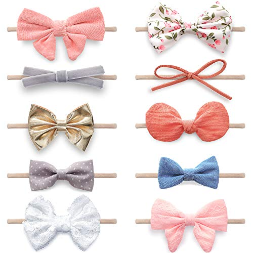 Baby Girl Headbands and Bows, Newborn Infant Toddler Nylon Hairbands Hair Accessories by KiddyCare…