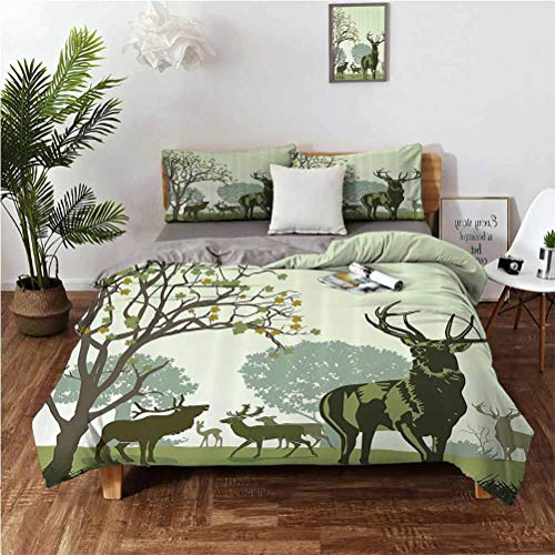 SUZM Antlers Decor Wrinkle-Free Breathable Refreshing Refreshing to The Touch Luxurious Cotton Three-Piece Suit Deer and Wildlife in Park World Natural Heritage Forest Areas Reindeer Soft ant
