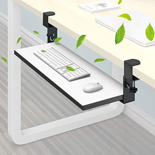 BELOVINGSHOP Tastaturschublade, Tastaturhalterung Ausziehbare mit Verstellbar Höhenbereich,stanzfrei, Stark und Robust, Tastatur-Ablage für Maustastatur,Weiß,Normal