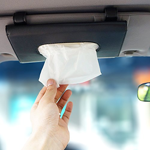 LOCEN Car Tissue Holder Visor Car Visor Tissue Holder Box Automotive Sun Visor Napkin Holder Leather Paper Pouch Case Clip for Car Vehicle Auto Black