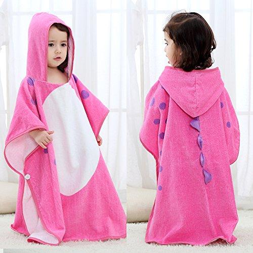 SHANNA Serviette de bain à capuche en coton pour bébé - Pour garçons et filles de 0 à 7 ans - 70 x 70 cm - Motif dinosaure - Rose