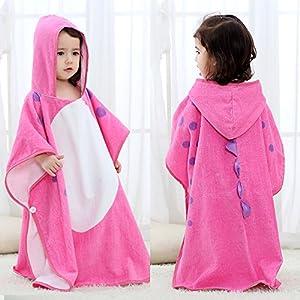 SHANNA Toalla de bebé con capucha, toalla de baño para niños y niñas, de 0 a 7 años, 70 x 70 cm, diseño de dinosaurio, color rosa