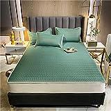 GTWOZNB Protector de colchón Acolchado - Microfibra - Transpirable - Funda para colchon estira hasta Sábana Estilo Summer Mat-Mostaza Verde_180 * 200cm