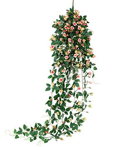 Tifuly Guirnalda de Rosas Artificiales de 1 Pieza, 5 pies Colgante de Rosas Falsas Flores de Pared Vid con Hojas de Hiedra para la Sala del hogar Jardín Boda Restaurante Decoración (Rosa Claro)