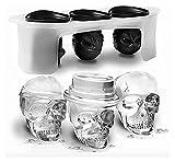 Moldes Bombones 2 Set Halloween Silicona Molde de hielo 3D Dibujos animados creativo 6x5cm Cabeza de cráneo Ghosts Bandeja de hielo DIY Silicona (Color : Black)
