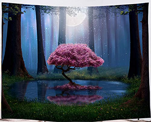 Amiiba Magical Cherry Tree Wall Tapestry Psychedelic Forest and Moon Tapestry Wall Hanging Moonlight Romantic Home Decoration for Bedroom Living Room (Cherry, L - 79'x59')
