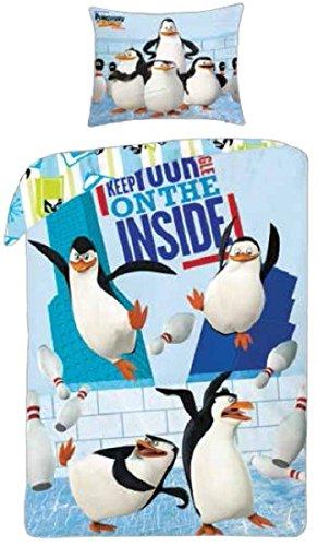 Halantex Parure De Lit Les Pingouins de Madagascar Housse DE Couette 140x200 100% Coton