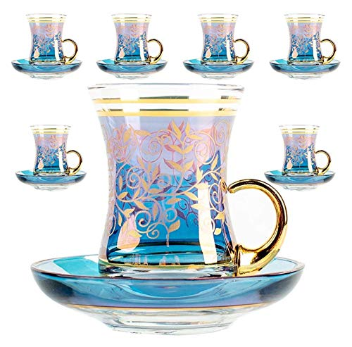Cup Vintage Turkish Tea Glasses Cups and Saucers Set of 6 with Handle Gold Decors for Serving and Drinking Gift (Capacity : (100 ml)