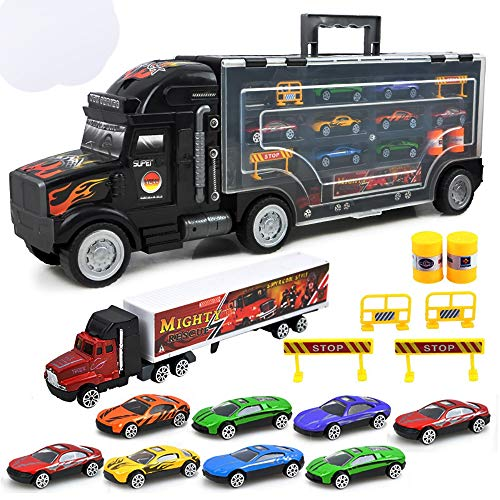 Toy Car Mini Pull Back Cars 10 en 1 Juego Vehículo en Carrier Car Juego de Juguetes Modelo de vehículo Set para niños Niños Niños Niñas Regalos de cumpleaños