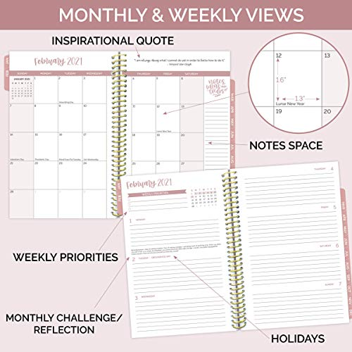 "bloom daily planners 2021 Calendar Year Day Planner (January 2021 - December 2021) - 6"" x 8.25"" - Weekly/Monthly Agenda Organizer Book with Stickers & Bookmark - Writefully His"