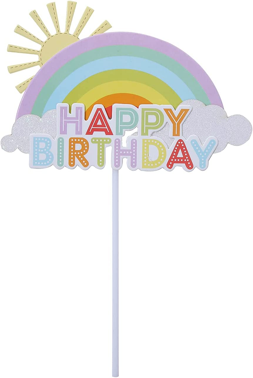 1 Pack Colorful Rainbow Happy Ranking TOP13 Birthday Topper Cloud Sun Japan Maker New Cak Cake