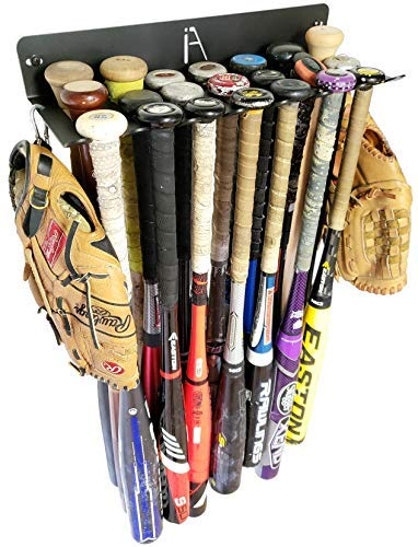 IRON AMERICAN Bat Rack Alpha XXL Series Holds 21 Bats and Hangs on Fence Heavy Duty Steel Dugout Fence Baseball Softball Bat Storage Hardware Included