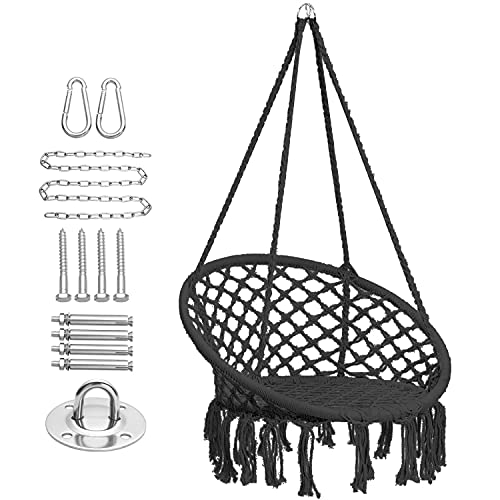 CCTRO Hammock Chair Macrame Swing with Haning Hardware Kits,Boho Style Hanging Swing Chairs for Indoor/Outdoor Home Patio Porch Yard Garden Deck,265 Pound Capacity (A Black)