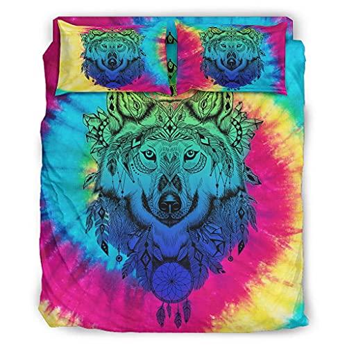 STELULI Juego de cama de 4 piezas, color azul lobo, elegante estilo cálido, juego de cama blanco 240x264cm