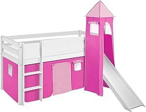 Lilokids Lit Mezzanine JELLE Rose - lit d'enfant Blanc - avec Toboggan, Tour et Rideau - lit 90x190 cm