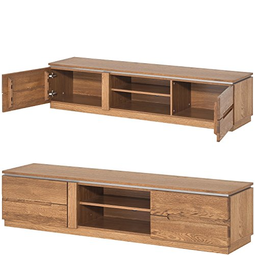 furniture24_eu TV Schrank Lowboard Unterschrank Montenegro Eiche Natur Furniert, Massivholz Eiche
