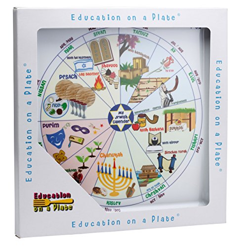 Jewish Educational Mealtime Plate for Kids; Fun, Colorful and Sturdy Melamine Plate with Calendar of All Jewish Holidays of Hanukkah, Passover, Yom kippur and more in English/Hebrew for Children