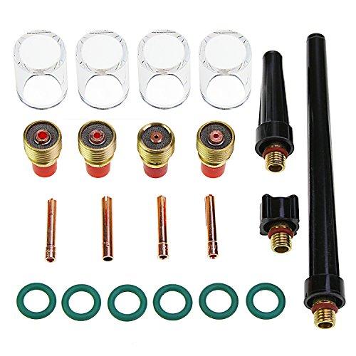 Aussel 21 Piezas TIG Welding Torch Supplies Soldadura Collet Gas Lens Glass Cup Kit de accesorios para WP-9/20/25 (21pcs kit)