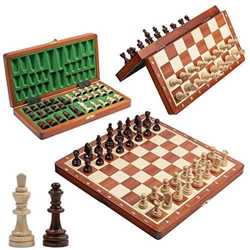 """Grand Jeu d'échecs en Bois magnétique de Tournoi, Jeu d'échecs de Luxe de 28 cm / 11 """"avec Figurines magnétisées échecs incrustés Faits à la Main pour Adultes et Enfants"""