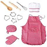 Bestonzon, set da 11 pezzi da chef per bambini, con cappello da chef, grembiule, guanto da cucina e utensili
