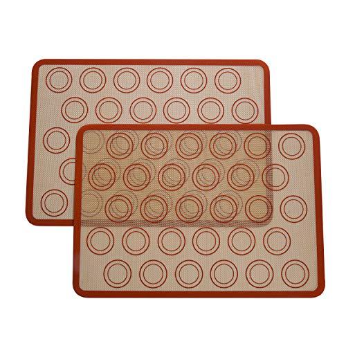 Yizhet Backmatte aus Silikon für Macaron Keks - 2er Set, Antihafte Matte Groß 42×30cm für Makronen/Kuchen/Brot, Hitzebeständiges Silikon-Backmatte für Backofen & Mikrowelle