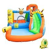 Tobogán acuático inflable, casa de rebote para niños con cañón de agua de tobogán largo, piscina grande con ventilador para el centro de juego de agua al aire libre, 355 x 300 x 205 cm