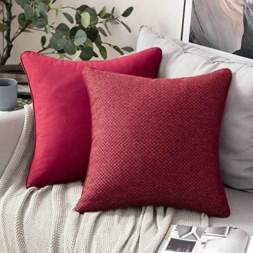 MIULEE 2 Pezzi Copricuscini Federe per Cuscini in Lino Cotone Quadrato Morbido e Elegante per Divano Camera da Letto Lavabile 45X45 CM Rosso